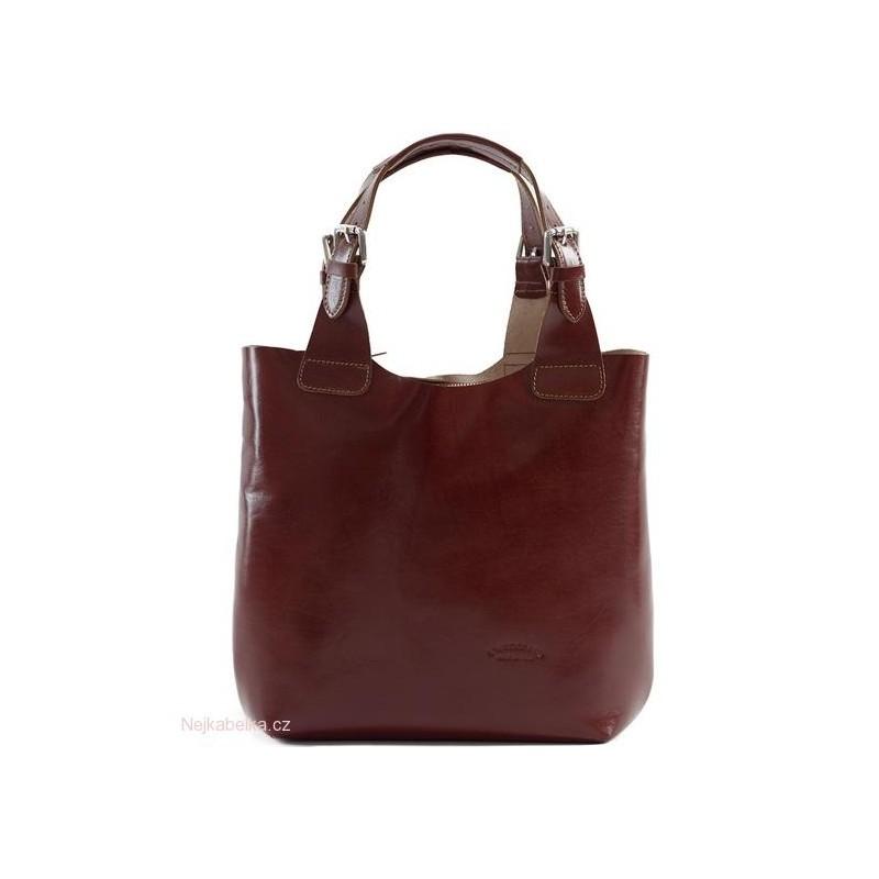 Kožená kabelka shopper velká hnědá (čokoláda)  9a5b816e0b7