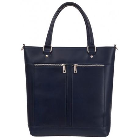 b8f8efa77d Kožená kabelka shopper velká tmavě modrá