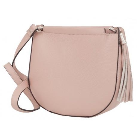 55fe59188d Kožená kabelka střední ve světle růžové barvě
